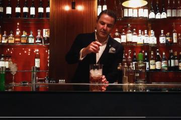 Philip Duff creates a cocktail for Derren Brown