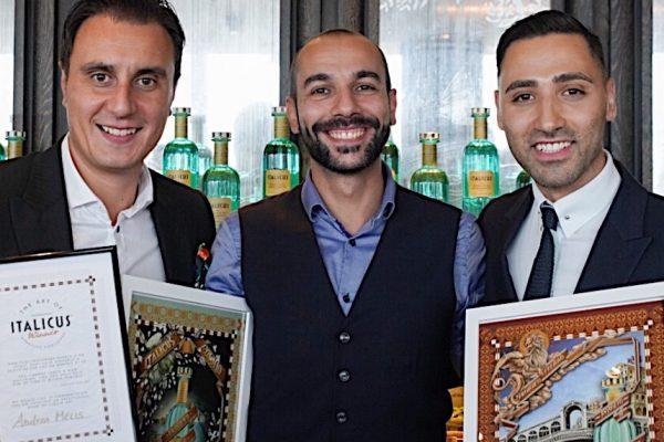 l-r: Italicus founder Giuseppe Gallo, winner Andrea Melis and Italicus Global Brand Ambasador Luca Missaglia