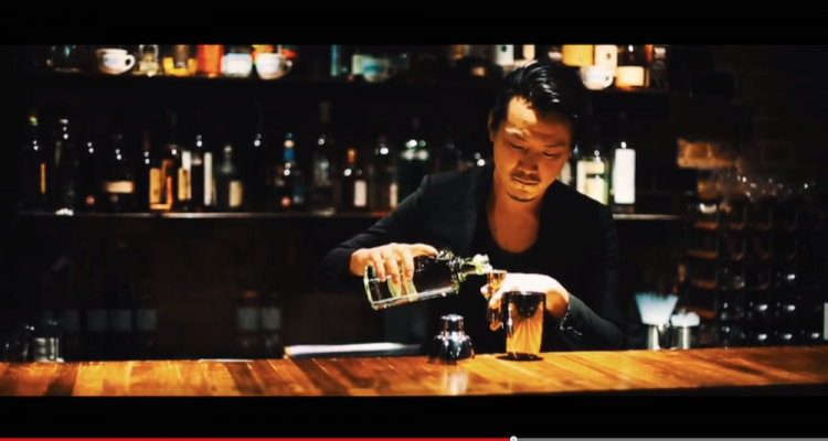 Shingo Gokan creates a cocktail for Masaharu Morimoto